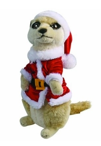 meerkat soft toy in santa outfit